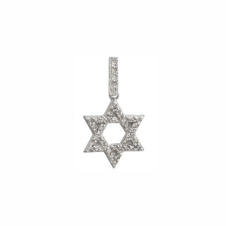Подвеска из белого золота с бриллиантами - Звезда Давида